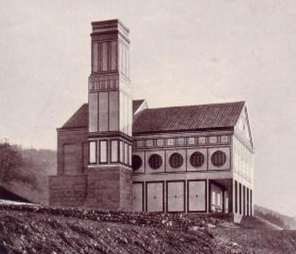 Das Krematorium in Delstern kurz nach der Fertigstellung